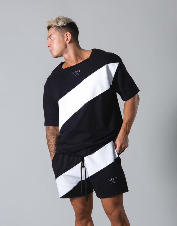 Angle Wide Line Big T-shirts - Black