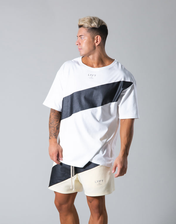 Angle Wide Line Big T-shirts - White