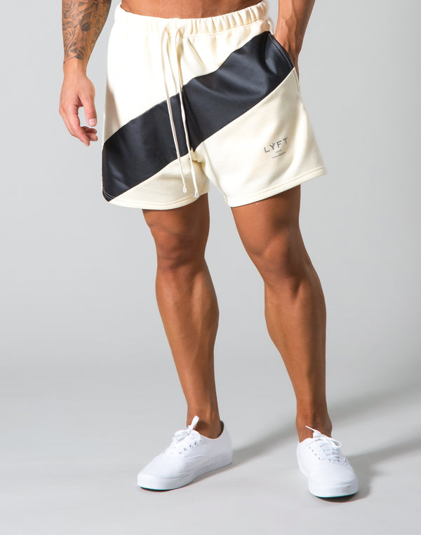 Angle Wide Line Sweat Shorts - Champagne