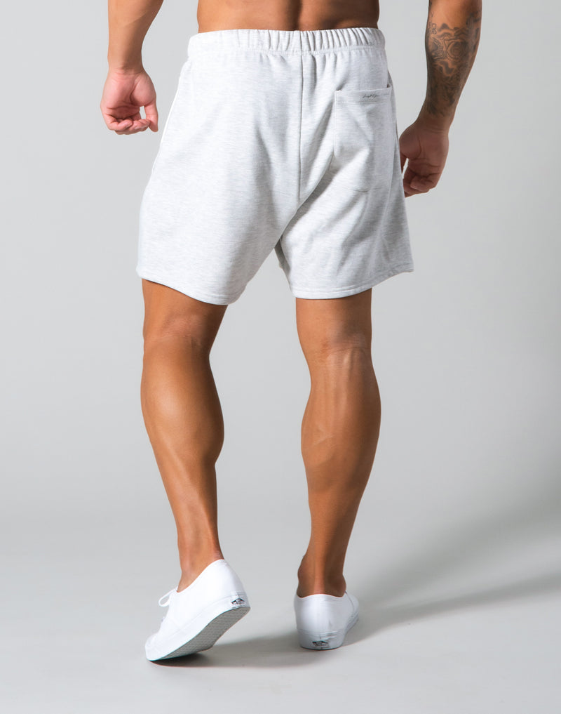 Angle Wide Line Sweat Shorts - Grey