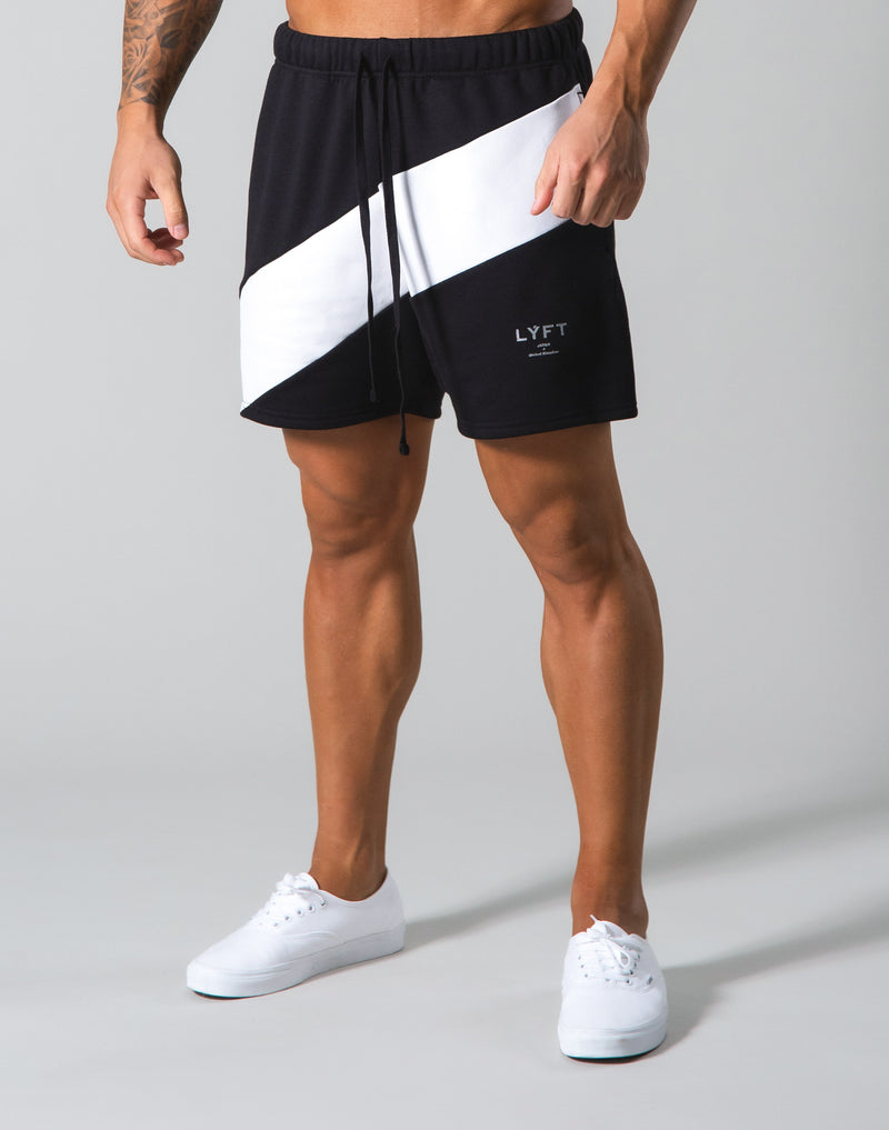 Angle Wide Line Sweat Shorts - Black