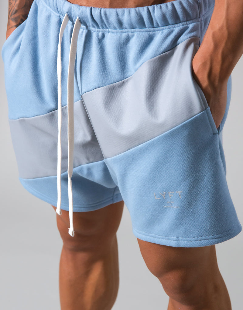 Angle Wide Line Sweat Shorts - L.Blue