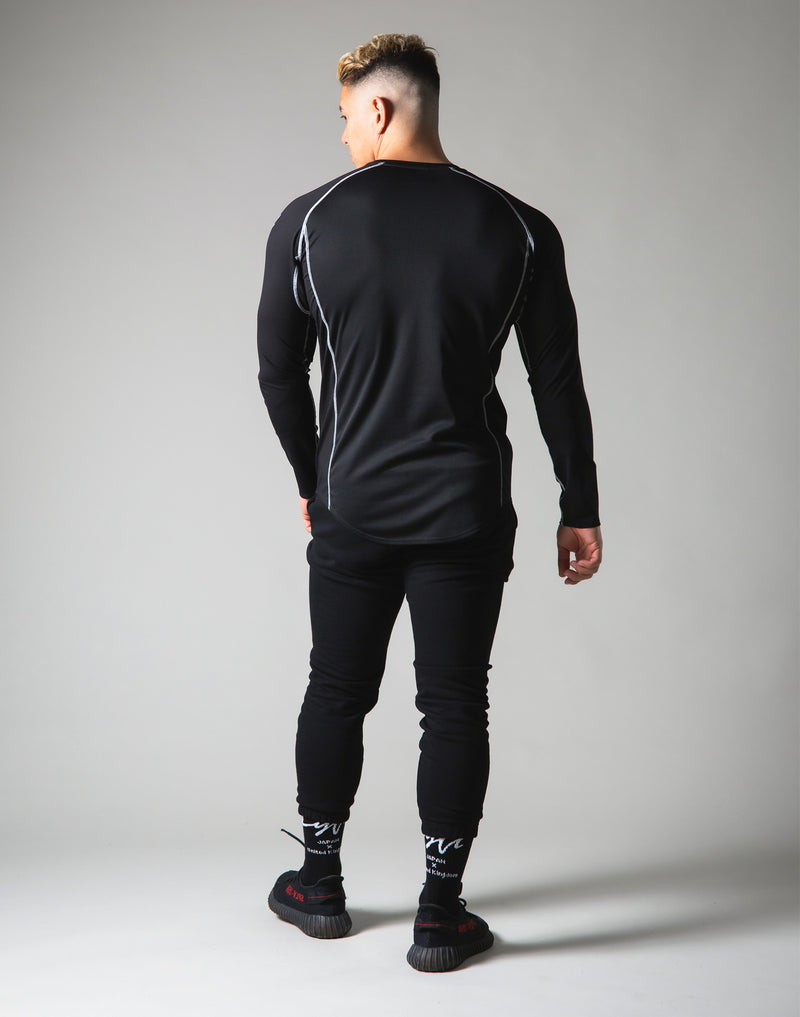 Script Logo Slim Fit Long Sleeve T-Shirt - Black