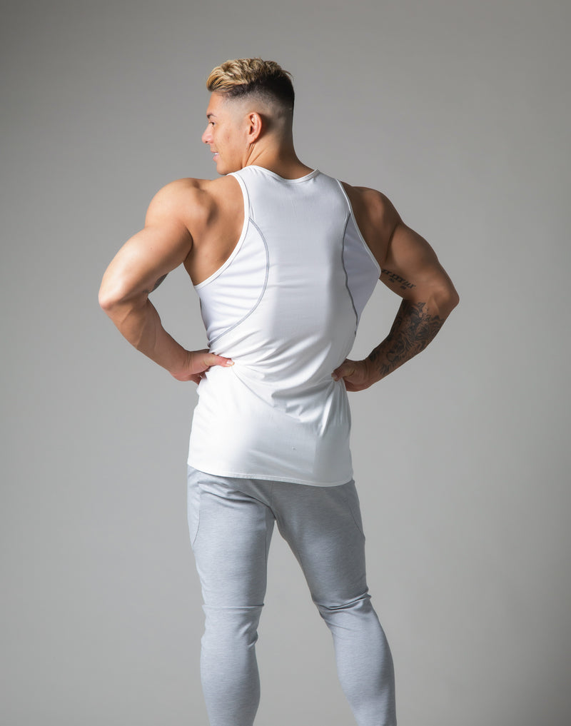 Tiered Mesh Stretch Standard Fit Tanktop - White