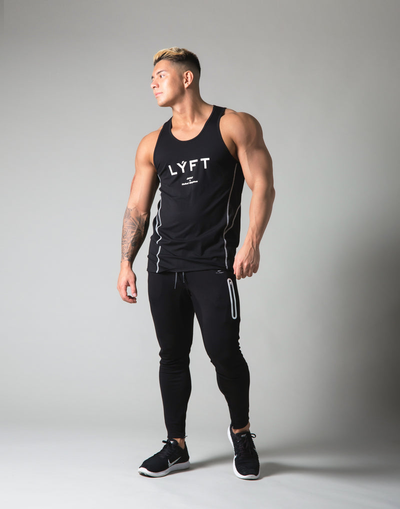 Tiered Mesh Stretch Standard Fit Tanktop - Black