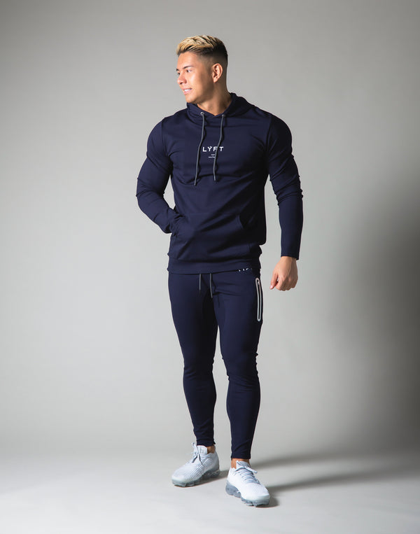Slim Fit Stretch Pullover Hoodie - Navy