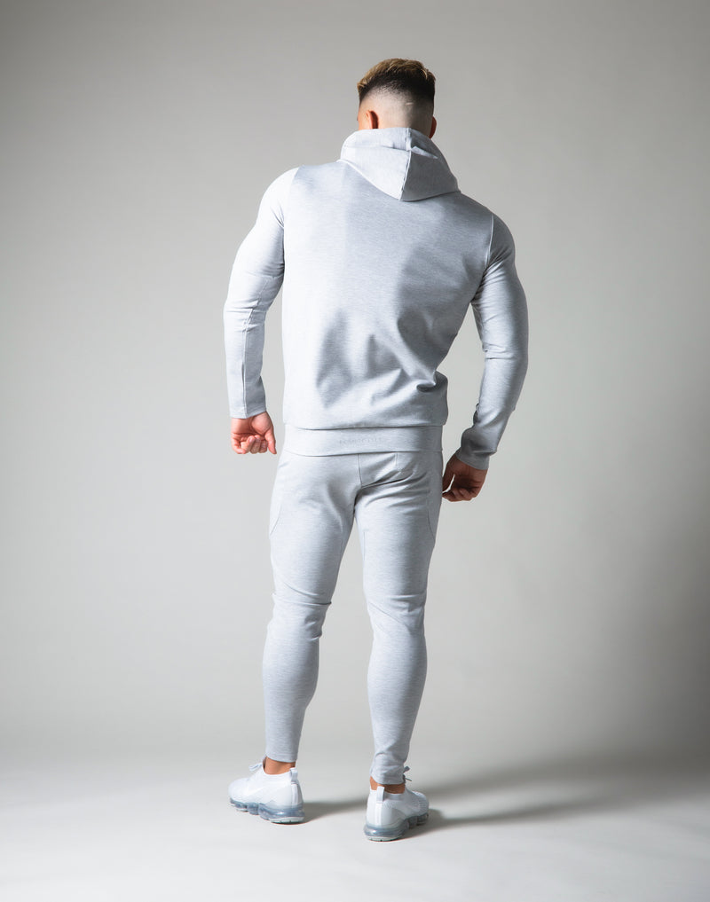 Slim Fit Stretch Pullover Hoodie - Grey