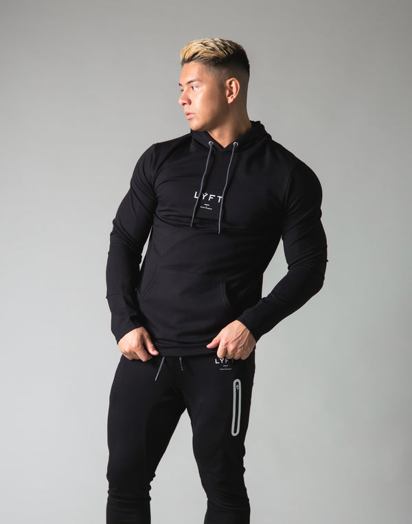 Slim Fit Stretch Pullover Hoodie - Black
