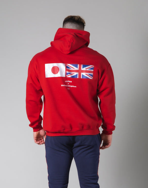 Silver Flag Pullover Hoodie - Red