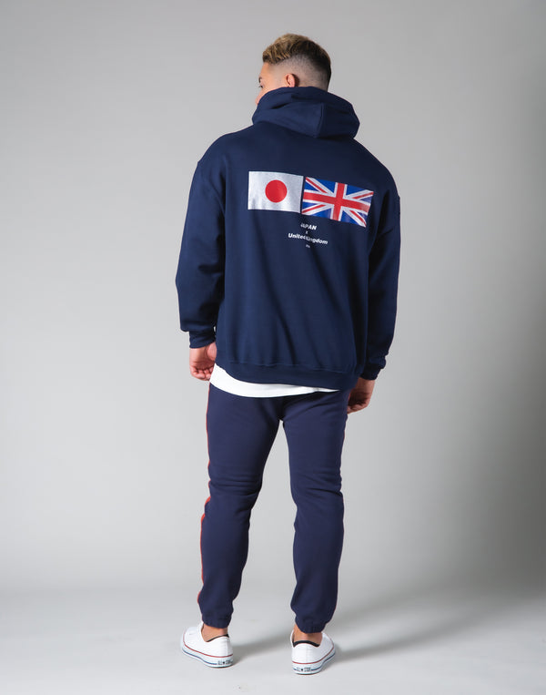Silver Flag Pullover Hoodie - Navy