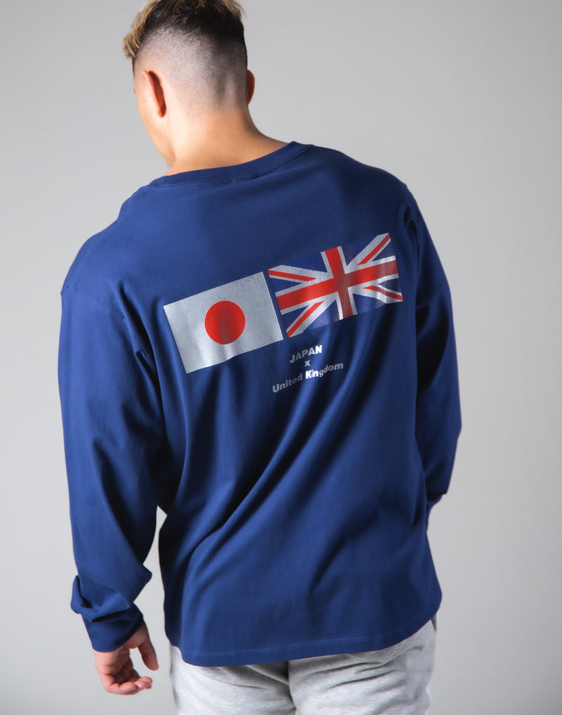Silver Flag Long Sleeve T-Shirt - Navy