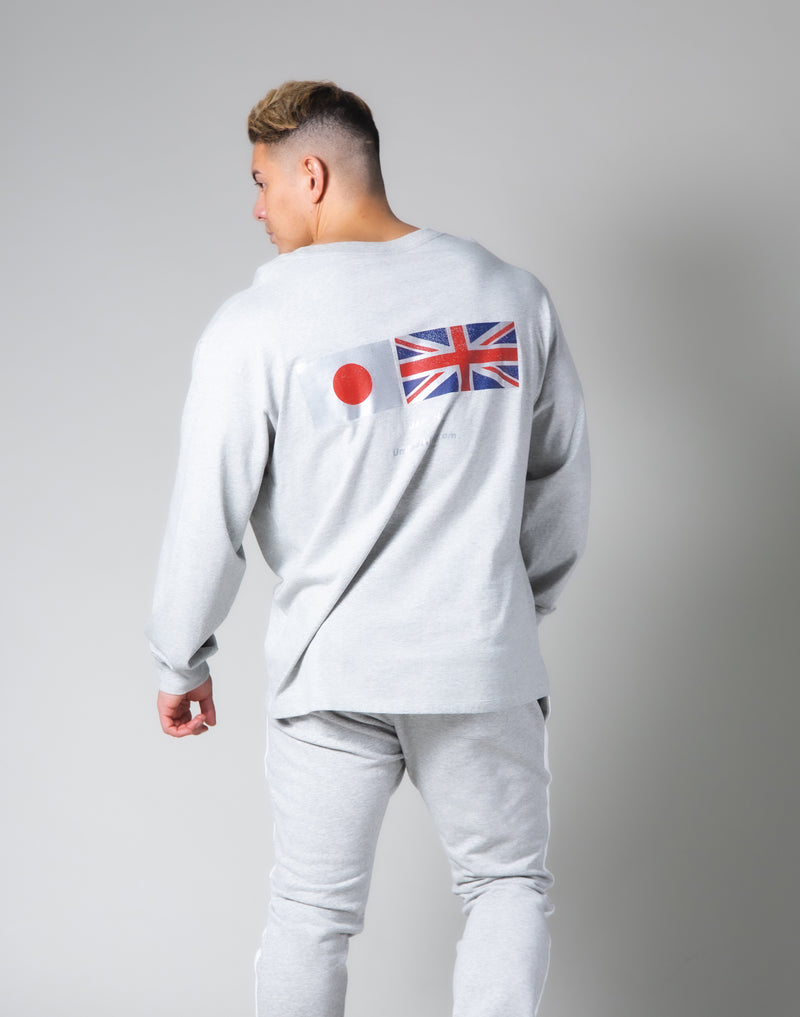 Silver Flag Long Sleeve T-Shirt - Grey