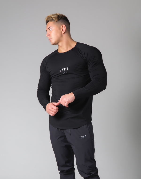 Slim Fit Raglan Long Sleeve T-Shirt - Black
