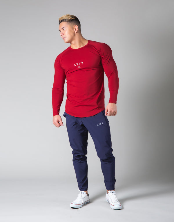 Slim Fit Raglan Long Sleeve T-Shirt - Red
