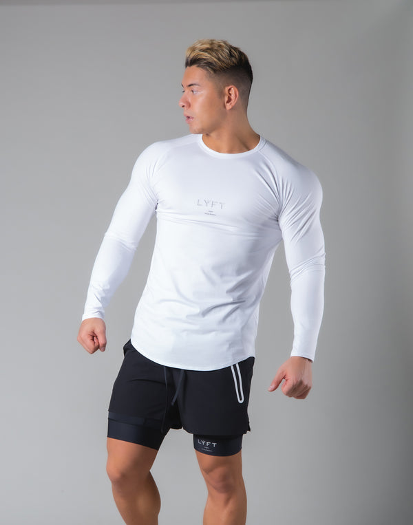 Slim Fit Raglan Long Sleeve T-Shirt - White
