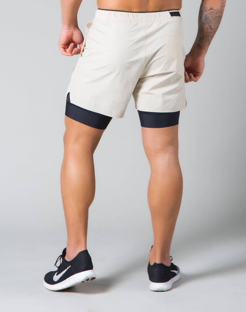 2Way Active Shorts / With Leggings - Light Beige