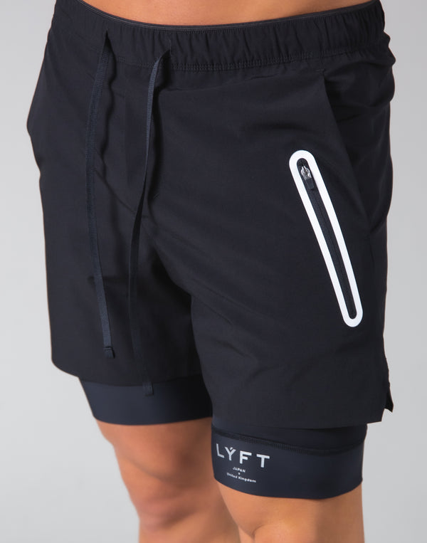 2Way Active Shorts / With Leggings - Black