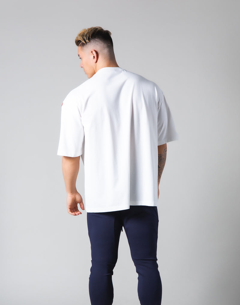 "Under Arm Wide 2 Line Big T-Shirt ""Wide Body"" - White"