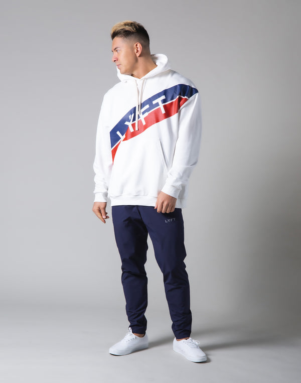 Stripe Pullover Hoodie - White