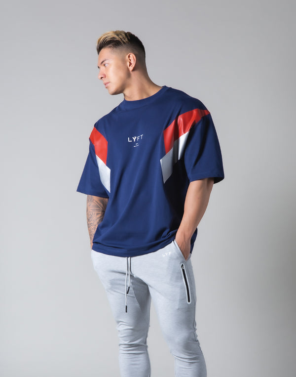 "Under Arm Wide 2 Line Big T-Shirt ""Wide Body"" - Navy"
