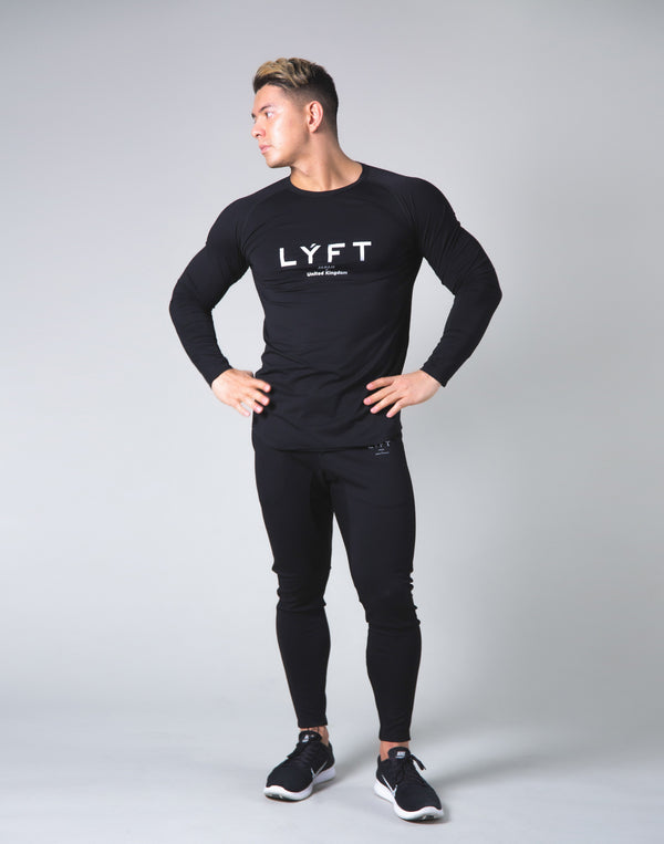 LÝFT Logo Slim Fit Long Sleeve T-Shirt - Black