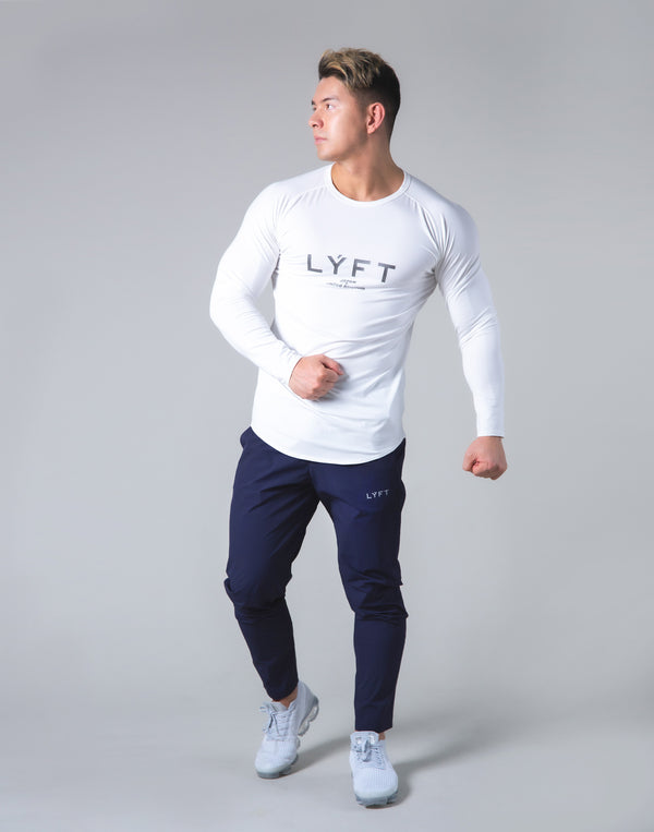 LÝFT Logo Slim Fit Long Sleeve T-Shirt - White