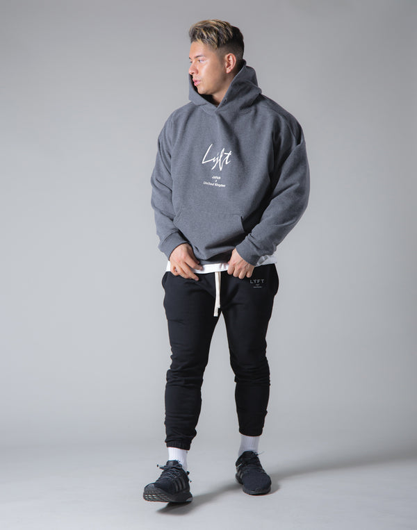 Script Logo 2Way Stretch Warm Pullover Hoodie - Dark Grey