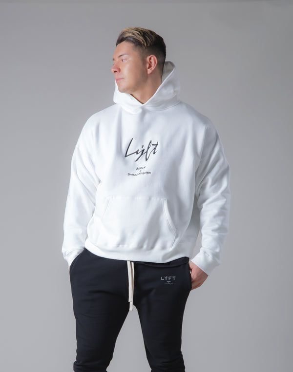 Script Logo 2Way Stretch Warm Pullover Hoodie - White