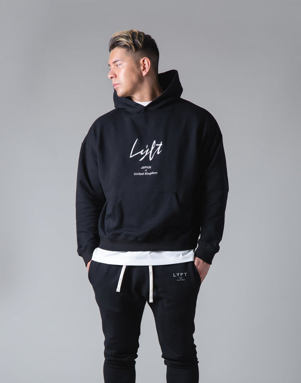 Script Logo 2Way Stretch Warm Pullover Hoodie - Black
