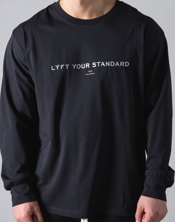 LÝS Message Print Long Sleeve T-Shirt - Black