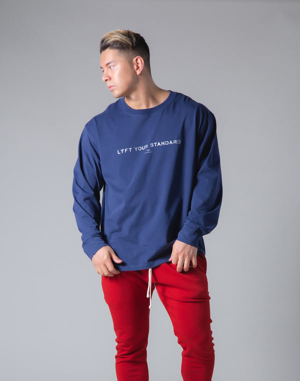 LÝS Message Print Long Sleeve T-Shirt - Navy