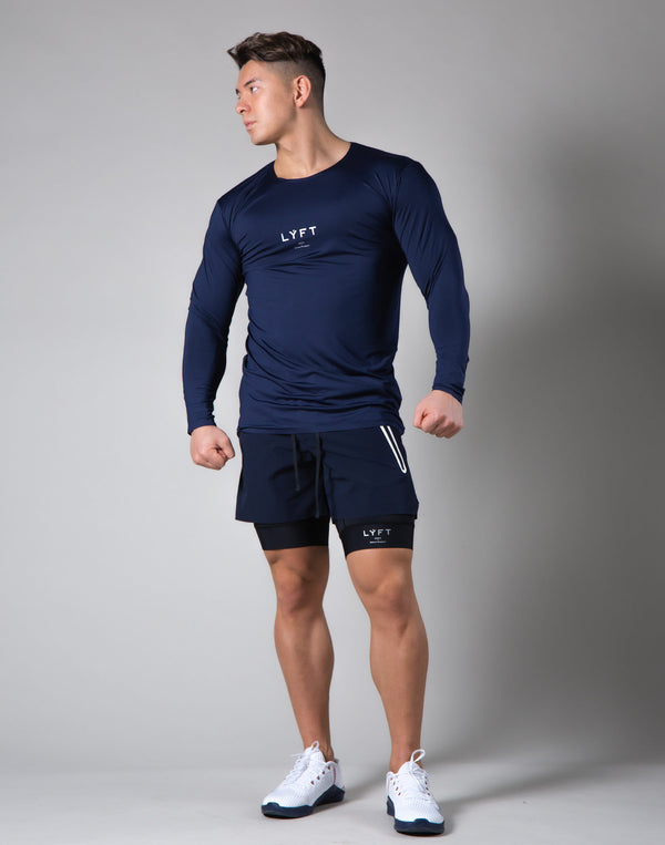 2Way Seamless Slim Fit Long Sleeve Tee - Navy