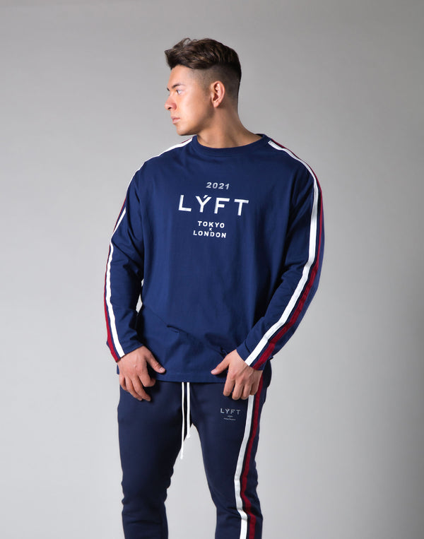 "2021 Logo 2 Line Long Sleeve Tee ""Wide Body"" - Navy"