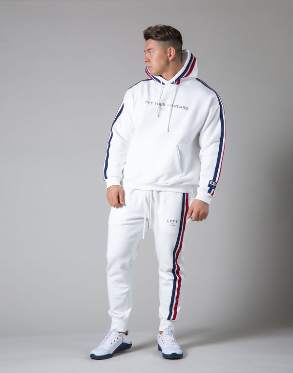 2Way Stretch 2 Line Warm Pullover Hoodie - White