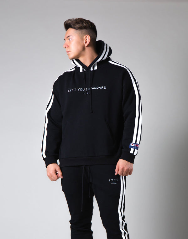 2Way Stretch 2 Line Warm Pullover Hoodie - Black