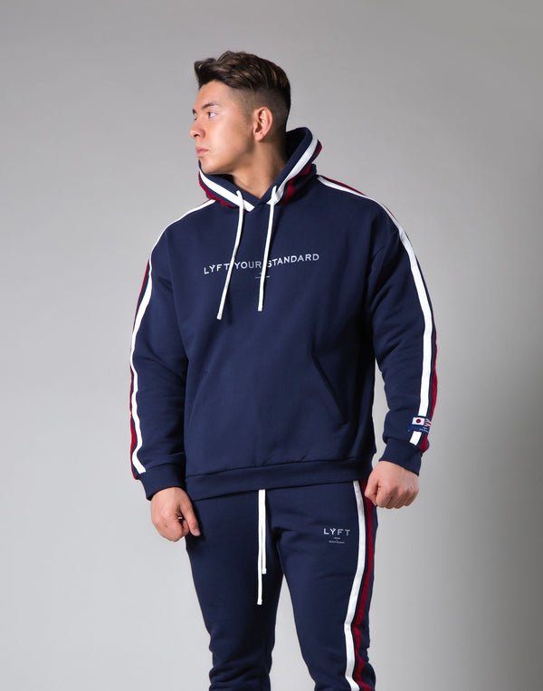 2Way Stretch 2 Line Warm Pullover Hoodie - Navy