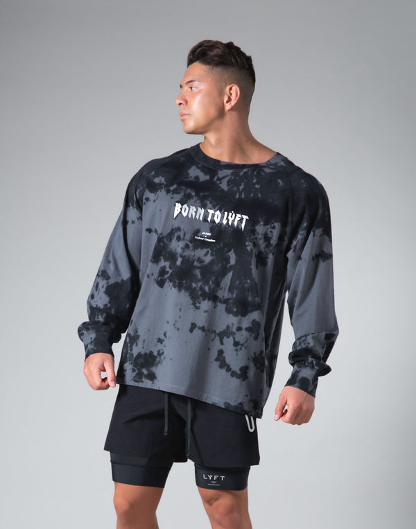 Tie Dye Punk Logo Long Sleeve Tee - Black