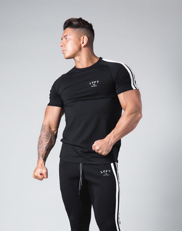 Slim Fit 2 Line T-Shirt - Black