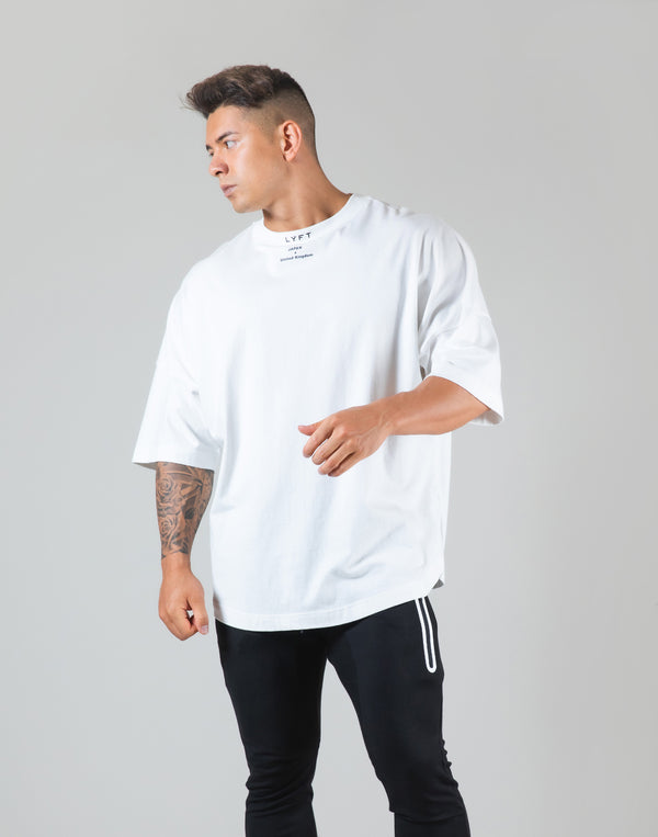 "Neck Logo Big T-Shirt ""Wide Shoulder"" - White"