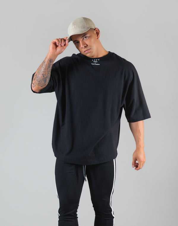 "Neck Logo Big T-Shirt ""Wide Shoulder"" - Black"