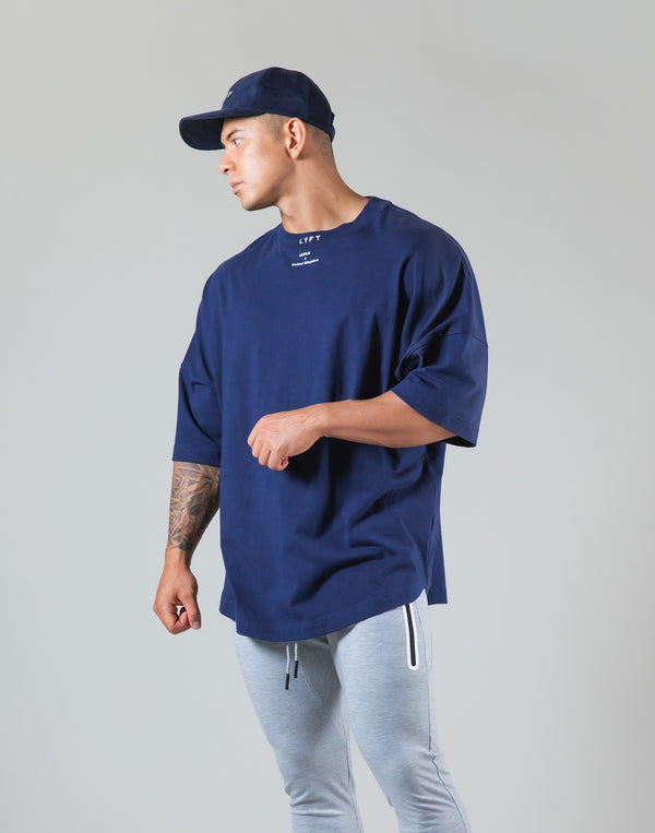 "Neck Logo Big T-Shirt ""Wide Shoulder"" - Navy"