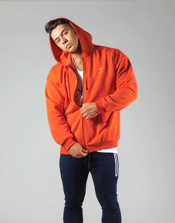 Flag Zip-Up Hoodie - Orange