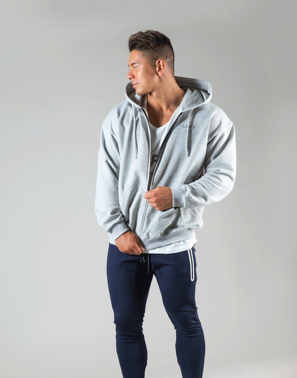 Flag Zip-Up Hoodie - Grey