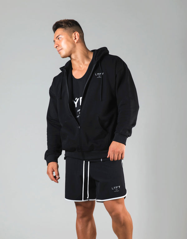 Flag Zip-Up Hoodie - Black