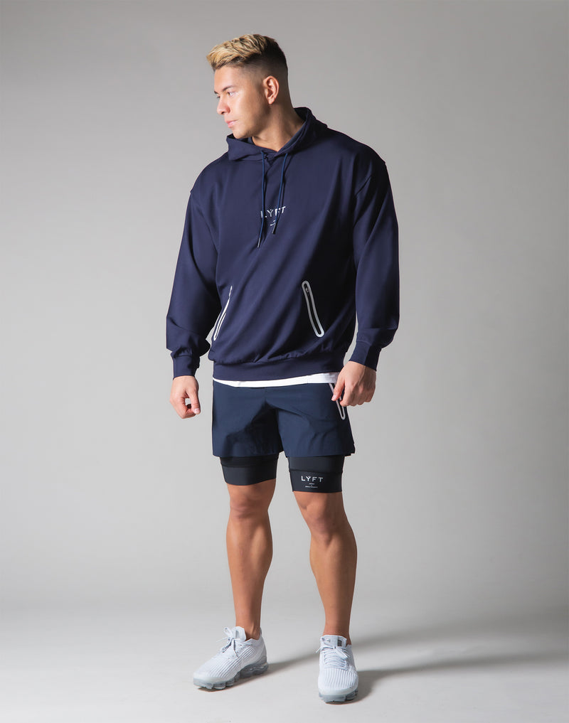 2 way Stretch Utility Pullover Hoodie - Navy