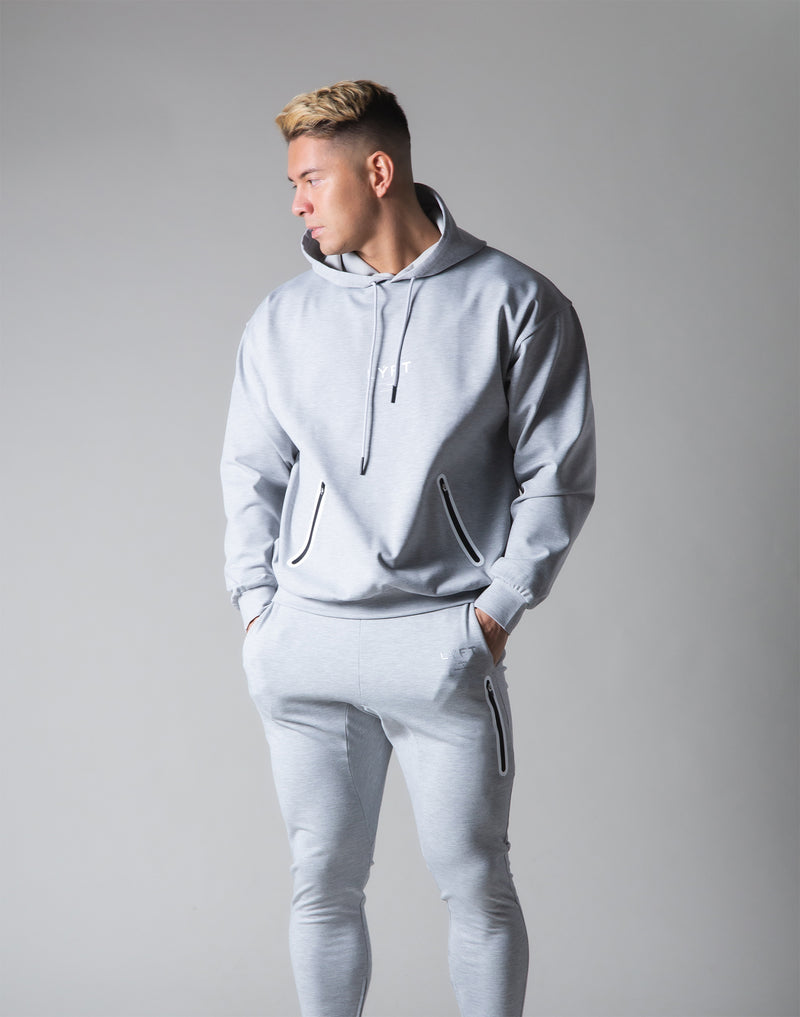 2 way Stretch Utility Pullover Hoodie - Grey