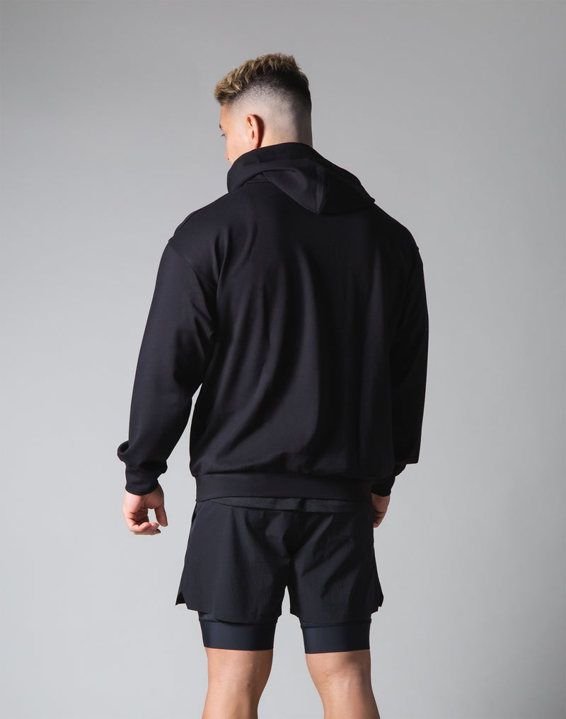 2 way Stretch Utility Pullover Hoodie - Black