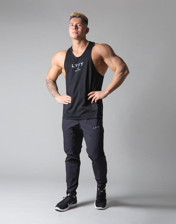 Back Mesh Stretch Training Tanktop - Black