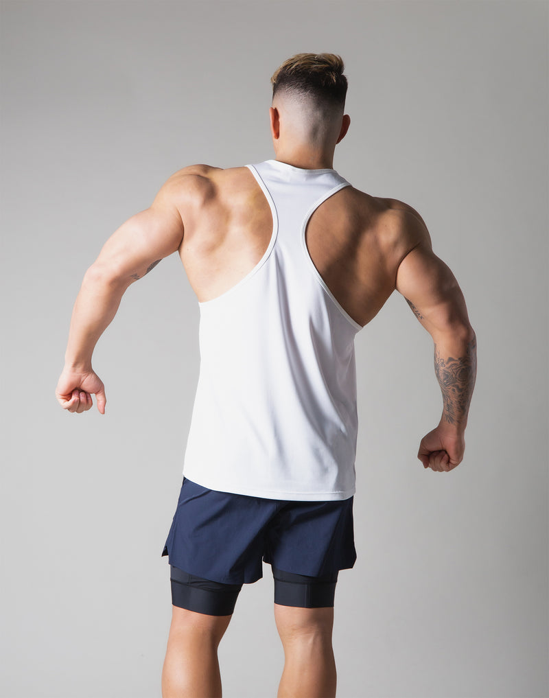 Back Mesh Stretch Training Tanktop - White