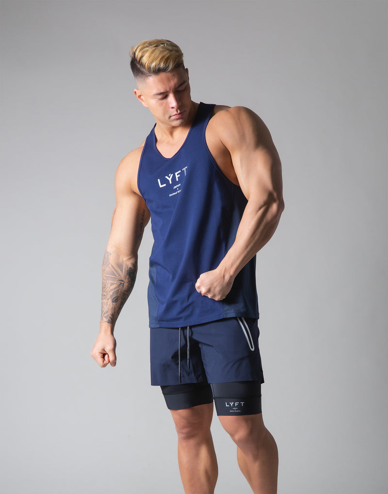 Back Mesh Stretch Training Tanktop - Navy